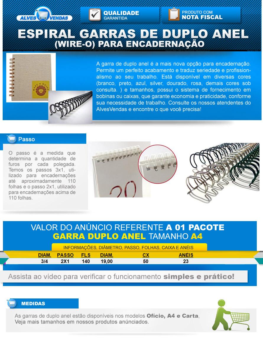 de3289a50 Caixa Espiral Garra Duplo Anel Wire-o 2x1 A4 3 4 140 Fls R  98.56 ...